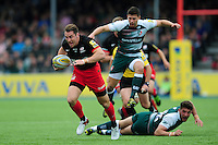 Chris Wyles of Saracens takes on the Leicester Tigers defence. Aviva Premiership semi final, between Saracens and Leicester Tigers on May 21, 2016 at Allianz Park in London, England. Photo by: Patrick Khachfe / JMP