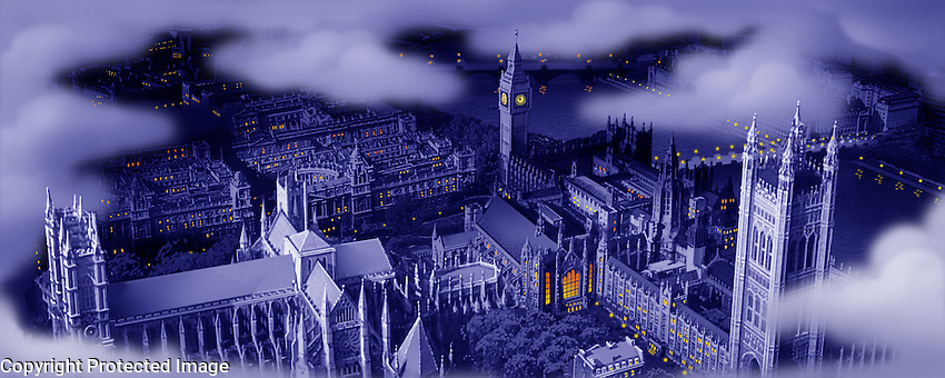 """The rooftops of London as Peter and the children sing """"I'm flying!"""" For Kenmark Scenic Backdrops, Inc."""