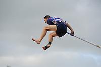 FIERLJEPPEN: WINSUM: 16-06-2014, ROC Friese Poort Competitie, Senioren Topklasse, Oane Galama wint met 20.55m, ©foto Martin de Jong