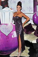 Amy Childs.Launches her debut fragrance 'Amy Childs' at Aura London, England..August 15th, 2012.full length purple strapless sequins sequined dress slit split hand on hip silver sandals shoes  .CAP/CJ.©Chris Joseph/Capital Pictures.