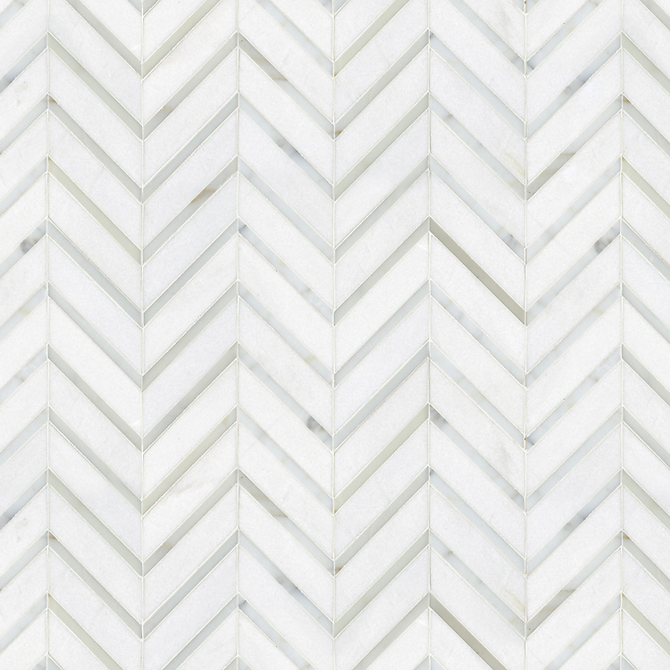 Raj, a natural stone mosaic shown in Calacatta Tia and polished Thassos, is part of the Silk Road Collection by Sara Baldwin for New Ravenna Mosaics. <br /> <br /> Take the next step: prices, samples and design help, http://www.newravenna.com/showrooms/