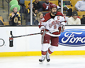 Danny Biega (Harvard - 9) - The Boston College Eagles defeated the Harvard University Crimson 4-1 in the opening round of the 2013 Beanpot tournament on Monday, February 4, 2013, at TD Garden in Boston, Massachusetts.