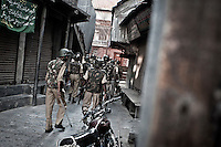 Indian paramilitary look for stone pelters and protestors after clashes sparked in Misuma area, in the core of the economical district of Srinagar. During the last years, Kashmir has been shaken by infuriated outcries against Indian occupation as Indian forces has retaliated against the Kashmiri population, breaking and entering scot-free residences at night. Srinagar, Indian administrated Kashmir.