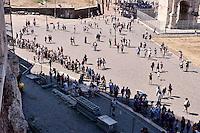 Roma 5 Agosto 2015<br /> Grande affluenza di visitatori italiani e stranieri al Colosseo,  sono circa  22000 le persone che ogni giorno dall'inizio della stagione turistica, hanno visitato l'antico anfiteatro e l'area archeologica centrale. Il monumento pi&ugrave; celebre della Capitale si conferma cos&igrave; tra i luoghi pi&ugrave; amati dai turisti italiani e stranieri. Il ministero dei Beni culturali a stanziato 18,5 milioni di euri per ricostruire  l&rsquo;arena del Colosseo come nell&rsquo;Ottocento. La fila dei turisti per entrare al Colosseo.<br /> Rome August 5, 2015<br /> Large influx of Italian and foreign visitors to the Colosseum, are about 22000 people every day from the beginning of the tourist season, they visited the ancient amphitheater and the archaeological center. The most famous monument of the capital is confirmed as one of the most loved by Italian and foreign tourists. The Ministry of Culture it allocated 18.5 million  euros to rebuild the arena of the Coliseum as in the nineteenth century. The ranks of tourists to enter the Colosseum.