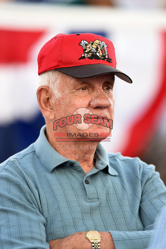 Batavia Muckdogs long time season ticket holder, and former Batavia Clippers infielder Jerry Maley, watches a game against the State College Spikes on July 3, 2014 at Dwyer Stadium in Batavia, New York.  State College defeated Batavia 7-1.  (Mike Janes/Four Seam Images)