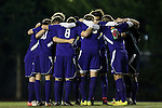 20 November 2014: JMU's starters huddle before the game. The University of North Carolina Tar Heels hosted the James Madison University Dukes at Fetzer Field in Chapel Hill, NC in a 2014 NCAA Division I Men's Soccer Tournament First Round match. UNC won the game 6-0.