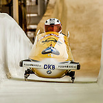 8 January 2016: Maximilian Arndt, piloting his 2-man bobsled for Germany, enters the Chicane straightaway on his second run, ending the day with a combined 2-run time of 1:51.43 and earning a 6th place finish at the BMW IBSF World Cup Championships at the Olympic Sports Track in Lake Placid, New York, USA. Mandatory Credit: Ed Wolfstein Photo *** RAW (NEF) Image File Available ***