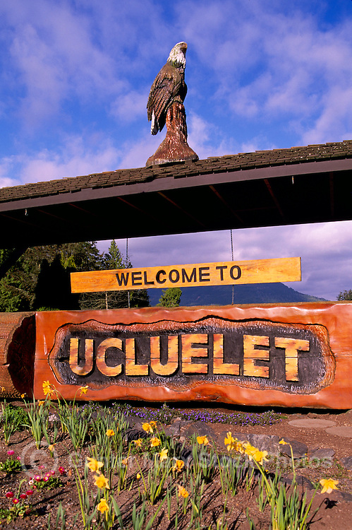 """Carved """"Welcome to Ucluelet"""" Sign in Ucluelet, on Vancouver Island, British Columbia, Canada"""