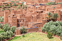 Morocco.  Ait Benhaddou Ksar, a World Heritage Site, in the Foreground.  New Ait Benhaddou in background.