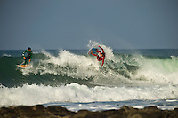 Jeffreys Bay, Eastern Cape, South Africa. Monday July 18 2011. Jeremy Flores (FRA) and Julian Wilson (AUS).  Freesurfing at Supertubes in 2'-4' clean south easterly swell.  Photo: joliphotos.com