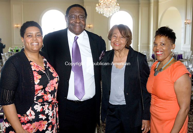 WATERBURY CT. 01 June 2013-060113SV14-From left, Anita Williams of Hampton, VA., John Morgan of Wolcott, Lillie B. Crosby of Monroe, Deborah Lewis of Washington, DC. attend The Greater Waterbury Chapter of The National Congress of Black Women, inc. Scholarship Luncheon at Aria Wedding and Banquet Facility in Prospect Saturday.<br /> Steven Valenti Republican-American