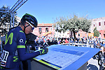 Nairo Quintana (COL) Movistar Team at sign on before the start of Stage 4 of the 2017 Tirreno Adriatico running 187km from Montalto di Castro to Terminillo, Italy. 11th March 2017.<br /> Picture: La Presse/Gian Mattia D'Alberto | Cyclefile<br /> <br /> <br /> All photos usage must carry mandatory copyright credit (&copy; Cyclefile | La Presse)