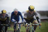 Moreno Hofland (NLD/LottoNL-Jumbo) pushing through the foul weather on a cobbled section<br />