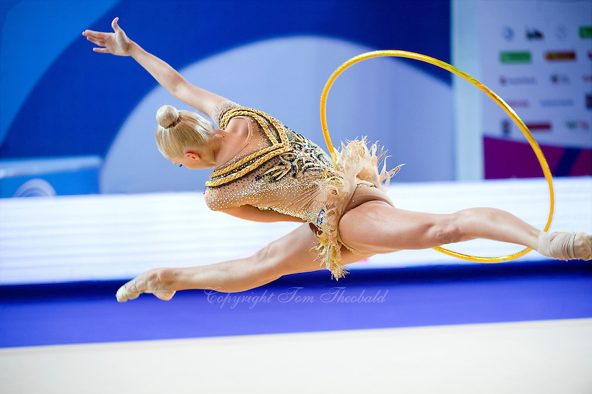 YANA KUDRYAVTSEVA of Russia performs with hoop at 2016 European Championships at Holon, Israel on June 18, 2016.