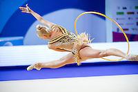 YANA KUDRYAVTSEVA of Russia performs with hoop at 2016 European Championships at Holon, Israel on June 18, 2016.