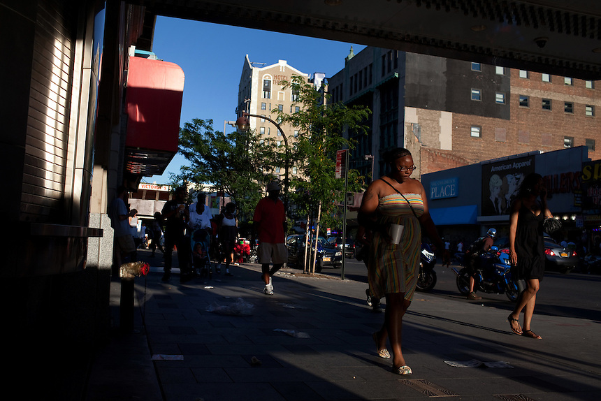 Outside the Apollo Theater on 125th Street in Harlem, New York on June 23, 2012.
