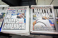 New York City newspapers front pages' use the same photograph cover the previous days' arrest of Ahmad Khan Rahami for the bombings on Saturday in the New York and New Jersey area, seen on Monday, September 19, 2016.  (© Richard B. Levine)