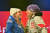 February 16, 2017: 2nd place Mikaela SHIFFRIN (USA) and 1st place Tessa WORLEY (FRA) on stage at the medal ceremony for the women's giant slalom event of the FIS Alpine World Ski Championships at St Moritz, Switzerland. Photo Sydney Low