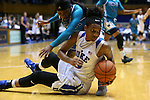 31 December 2015: Duke's Crystal Primm (below) beats UNCW's Jasmine Steele (behind) to a loose ball. The Duke University Blue Devils hosted the University of North Carolina Wilmington Seahawks at Cameron Indoor Stadium in Durham, North Carolina in a 2015-16 NCAA Division I Women's Basketball game. Duke won the game 78-56.