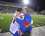 Louisiana Tech celebrates its win over Ole Miss in Oxford, Miss. on Saturday, November 12, 2011. Louisiana Tech won 27-7.