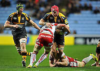 James Haskell of Wasps takes on the Gloucester defence. Aviva Premiership match, between Wasps and Gloucester Rugby on November 8, 2015 at the Ricoh Arena in Coventry, England. Photo by: Patrick Khachfe / Onside Images