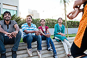 Employees share a lighter moment at Wipro's Sarjapur campus in Bangalore, Karnataka, India. Photo: Sanjit Das
