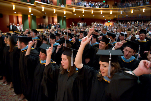 July 9, 2011; Alliance for Catholic Education graduates sing the Alma Mater at the end of the 2011 ACE Commencement Ceremony at the DeBartolo Performing Arts Center...Photo by Matt Cashore/University of Notre Dame