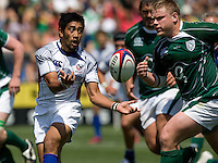 31 May 2009: Ata Malifa of USA catches the ball during the Rugby game against Ireland at Buck Shaw Stadium in Santa Clara, California.   Ireland defeated USA, 27-10.