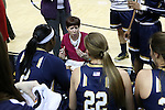 18 February 2016: Notre Dame head coach Muffet McGraw talks to her players during a timeout. The Wake Forest University Demon Deacons hosted the University of Notre Dame Fighting Irish at Lawrence Joel Veterans Memorial Coliseum in Winston-Salem, North Carolina in a 2015-16 NCAA Division I Women's Basketball game. Notre Dame won the game 86-52.