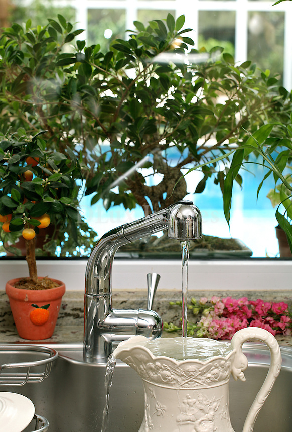 Mrs Aliki Kostaki's family resides in Athens in a complex of two houses which are separated by a large garden.
