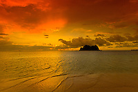 Vomo Lailai at sunset, off Vomo Island, Fiji Islands