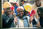 "JOHANNESBURG, SOUTH AFRICA AUGUST 10: Construction workers greet Oprah at the site of her school ""Oprah Winfrey Leadership Academy for Girls"" located about 40 miles south of Johannesburg in Henley-on-Klip, Meyerton. Oprah visited South Africa to interview girls and to inspect the construction of the school. (Photo by Per-Anders Pettersson).."