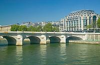 Pont Neuf bridging the Seine river and the Samaritaine department store, Paris France