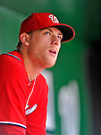 20 May 2012: Washington Nationals pitcher Ross Detwiler looks out from the dugout prior to a game against the Baltimore Orioles at Nationals Park in Washington, DC. The Nationals defeated the Orioles 9-3 to salvage the third game of their 3-game series. Mandatory Credit: Ed Wolfstein Photo