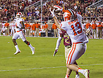 Clemson wide receiver Hunter Renfrow (13) catches a touchdown pass from Deshaun Watson (4) in the first half of an NCAA college football game against Florida State in Tallahassee, Fla., Saturday, Oct. 29, 2016. (AP Photo/Mark Wallheiser)