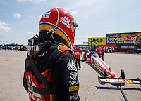 Sep 5, 2016; Clermont, IN, USA; NHRA top fuel driver Doug Kalitta during the US Nationals at Lucas Oil Raceway. Mandatory Credit: Mark J. Rebilas-USA TODAY Sports