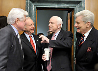 """Washington, DC - April 8, 2008 -- From left to right: United States Senators Edward M. """"Ted"""" Kennedy, (Democrat of Massachusetts); Joseph I. Lieberman (Independent Democrat of Connecticut), John McCain (Republican of Arizona); and John Warner (Republican of Virginia) share a conversation prior to hearing the testimony of General David Petraeus and Ambassador Ryan Crocker before the United States Senate Armed Services Committee on the situation and progress in Iraq in Washington, D.C. on Tuesday, April 8, 2008..Credit: Ron Sachs / CNP/MediaPunch"""