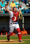 5 March 2006: Matthew LeCroy, catcher for the Washington Nationals, makes a play to first during a Spring Training game against the Baltimore Orioles. The Nationals defeated the Orioles 10-6 at Space Coast Stadium, in Viera Florida...Mandatory Photo Credit: Ed Wolfstein..