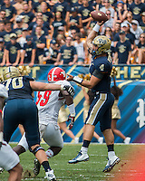 Pitt quarterback Nate Peterman. The Pitt Panthers football team defeated the Youngstown State Penguins 45-37 on Saturday, September 5, 2015 at Heinz Field, Pittsburgh, Pennsylvania.