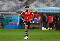 Germany coach Joachim Loew looks on during training ahead of tomorrow's semi final vs Brazil