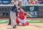 24 July 2016: San Diego Padres outfielder Travis Jankowski in action against the Washington Nationals at Nationals Park in Washington, DC. The Padres defeated the Nationals 10-6 to take the rubber match of their 3-game, weekend series. Mandatory Credit: Ed Wolfstein Photo *** RAW (NEF) Image File Available ***