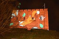 Christmas projection onto Norwich castle, December 2016 UK