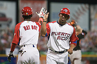 11 March 2009: #43 Hiram Bocachica of Puerto Rico celebrates withe the bat boy after he scores during the 2009 World Baseball Classic Pool D game 6 at Hiram Bithorn Stadium in San Juan, Puerto Rico. Puerto Rico wins 5-0 over the Netherlands