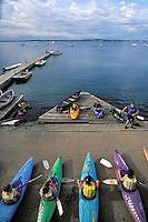 Bill Diedrich, standing far right,  leads an introductory whitewater kayak class for Hoofer Outing Club members along the Memorial Union Terrace piers on Lake Mendota  during summer.<br /> <br /> Client: University of Wisconsin-Madison<br /> &copy; UW-Madison University Communications 608-262-0067<br /> Photo by: Michael Forster Rothbart<br /> Date:  2001     File#:   color slide
