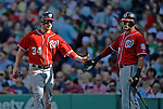9 June 2012: Washington Nationals outfielder Bryce Harper comes home to score in the 4th inning against the Boston Red Sox at Fenway Park in Boston, MA. The Nationals defeated the Red Sox 4-2 in the second game of their 3-game series. Mandatory Credit: Ed Wolfstein Photo