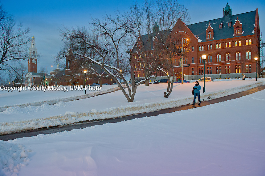 University Row, Ira Allen Chapel , Billings Library, Williams Hall, and the UVM Campus Green. Winter UVM Campus