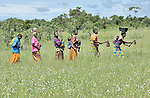 Women walk to the fields to participate in a community agriculture project outside Kamina, in the Democratic Republic of the Congo. Sponsored by the United Methodist Committee on Relief (UMCOR), the project increases food security in poor communities, especially for women and children.