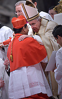 Cardinal Charles Maung Bo.Pope Francis,during a consistory for the creation of new Cardinals at St. Peter's Basilica in Vatican.February 14, 2015