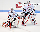 Derick Roy (NU - 1), Bryan Mountain (NU - 46) - The Northeastern University Huskies defeated the visiting Merrimack College Warriors 4-2 (EN) on Wednesday, October 10, 2012, at Matthews Arena in Boston, Massachusetts.