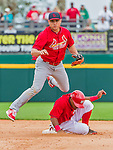 7 March 2015: St. Louis Cardinals infielder Aledmys Diaz turns a double-play in the eighth inning of Spring Training action against the Washington Nationals at Space Coast Stadium in Viera, Florida. The Cardinals fell to the Nationals 6-5 in Grapefruit League play. Mandatory Credit: Ed Wolfstein Photo *** RAW (NEF) Image File Available ***